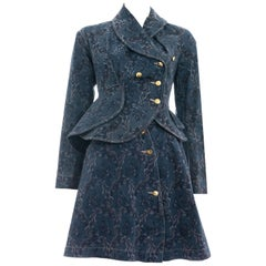 Vivienne Westwood blue denim jacquard peplum jacket skirt suit, fw 1996