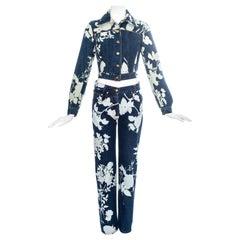 Vivienne Westwood blue denim pant suit with bleached floral print, ss 1994