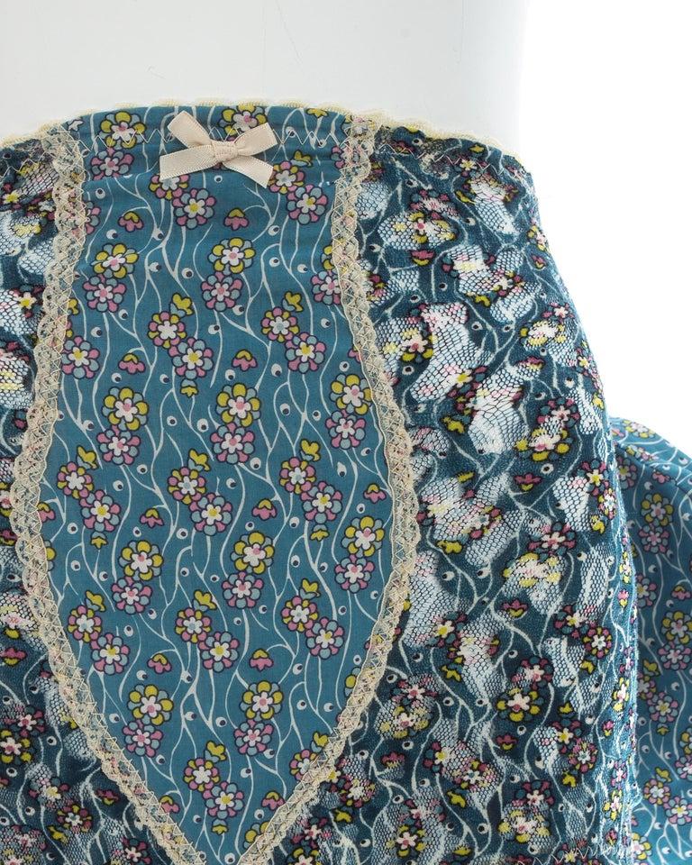 Women's Vivienne Westwood blue floral cotton bustle and briefs set, ca. 1995  For Sale