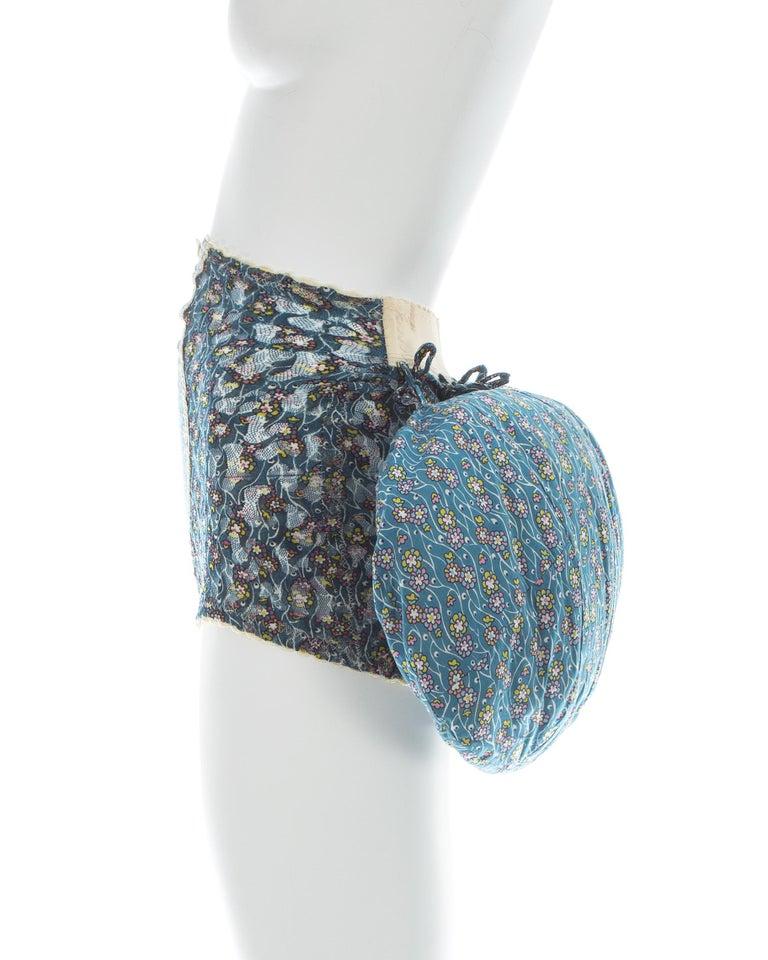 Vivienne Westwood blue floral cotton bustle and briefs set, ca. 1995  For Sale 2