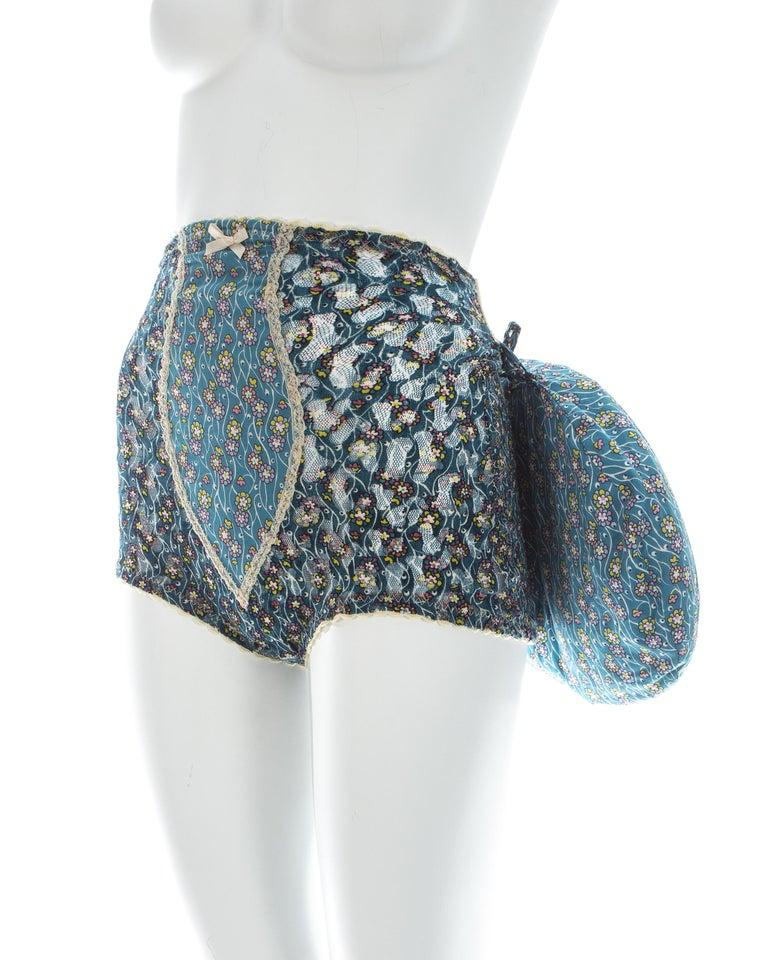 Vivienne Westwood blue floral cotton bustle and briefs set, ca. 1995  For Sale 3