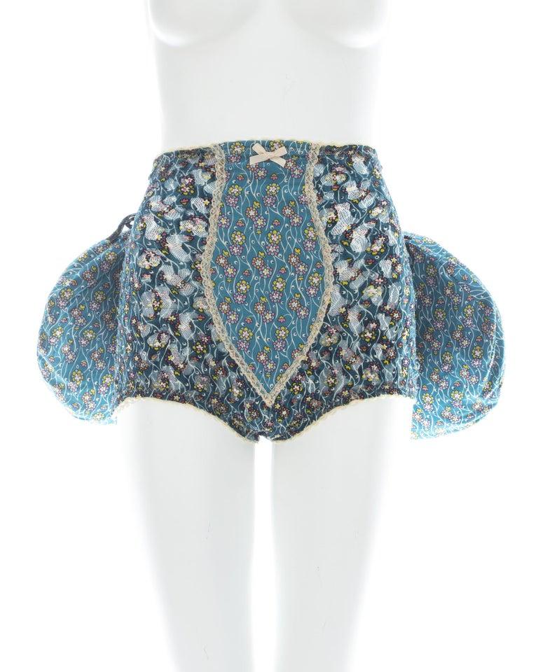 Vivienne Westwood blue floral cotton bustle and briefs set, ca. 1995  For Sale 4