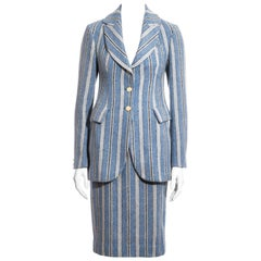 Vivienne Westwood blue striped Harris Tweed skirt suit, fw 1996
