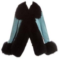 Vivienne Westwood blue tweed and black sheepskin jacket, fw 1991