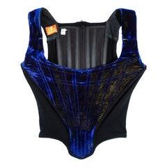 Vivienne Westwood blue two-tone velvet corset, ss 1985