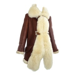 Vivienne Westwood brown leather and cream shearling coat, fw 1991