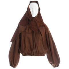 Vivienne Westwood brown leather bomber jacket with detachable cape, ss 1992