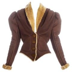 Vivienne Westwood brown leather sheepskin puff sleeve jacket, fw 1995