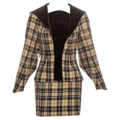 Vivienne Westwood brown tartan wool and velvet mini skirt suit, fw 1997