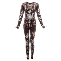 Vivienne Westwood brown velvet bodystocking with neoclassical print, fw 1990