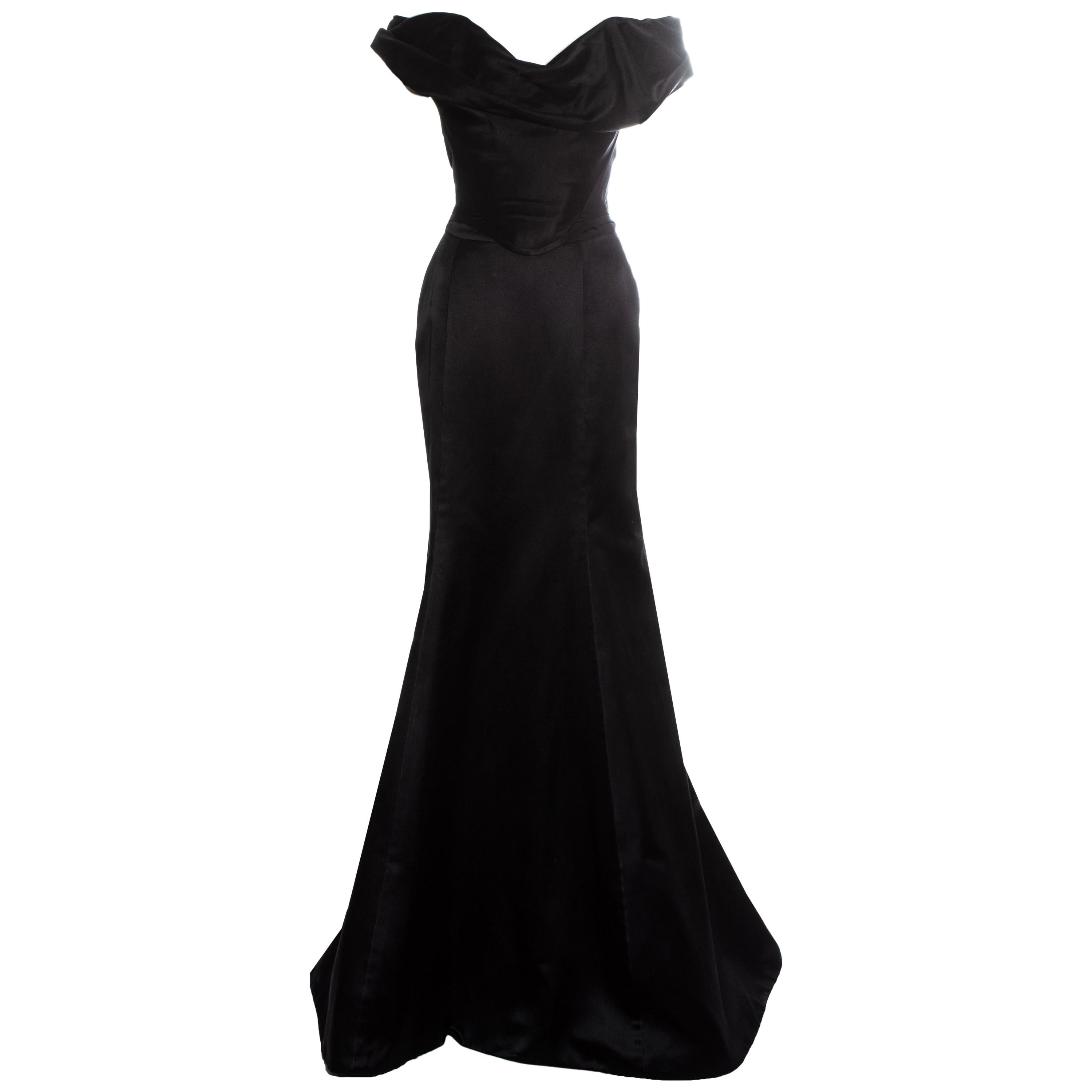 Vivienne Westwood Couture black silk corset and trained skirt evening set