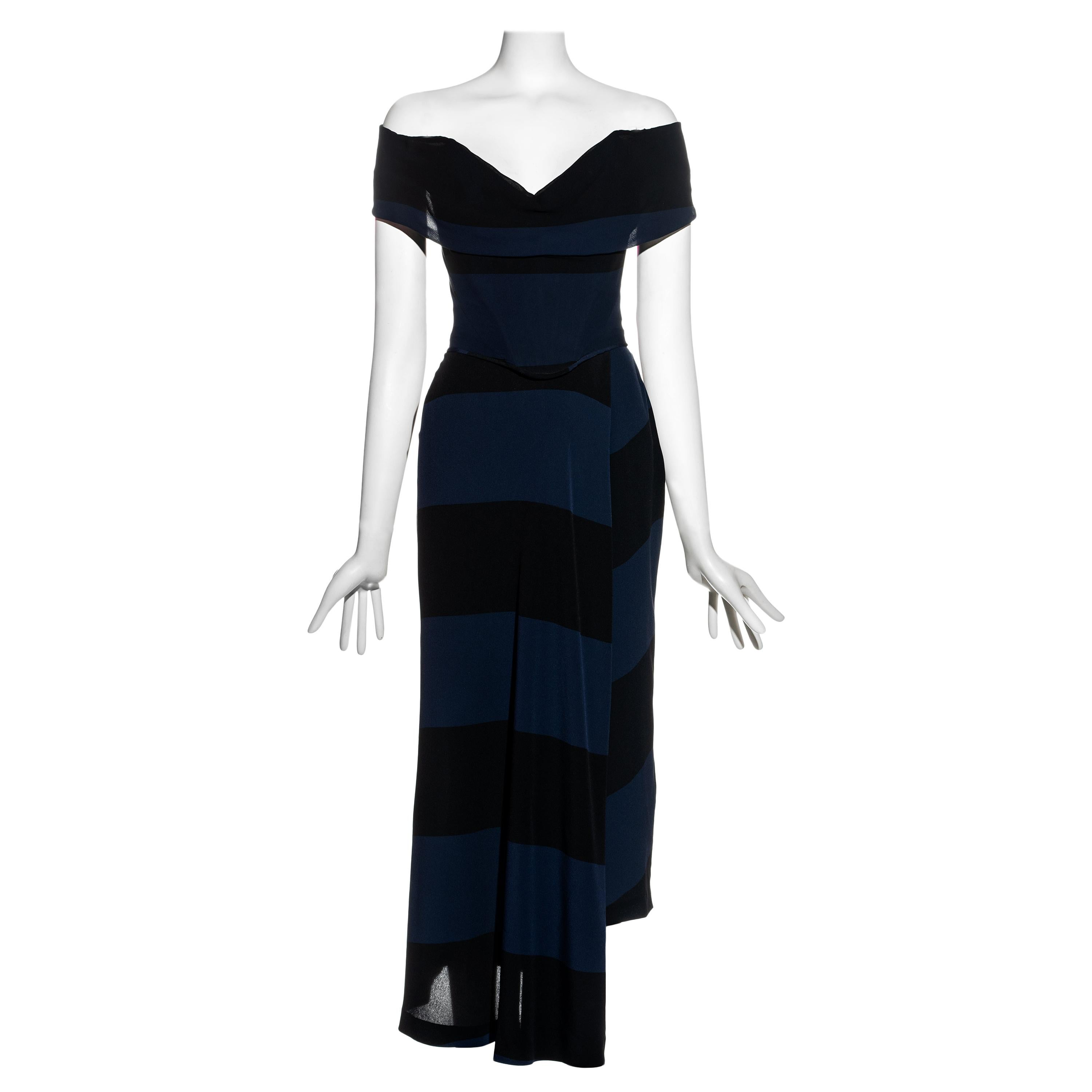 Vivienne Westwood Couture navy striped silk corset and skirt set, ss 1998