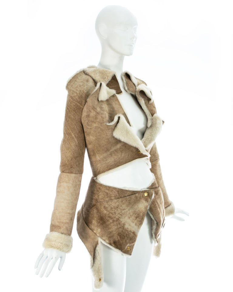 Vivienne Westwood cream shearling sheepskin deconstructed jacket, ca. 1999 In Good Condition For Sale In Chester, Chester