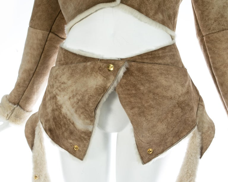 Women's Vivienne Westwood cream shearling sheepskin deconstructed jacket, ca. 1999 For Sale