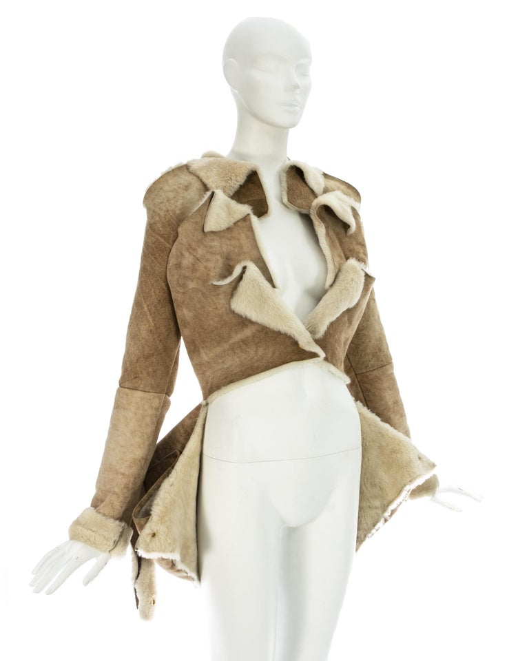Vivienne Westwood cream shearling sheepskin deconstructed jacket, ca. 1999 For Sale 1