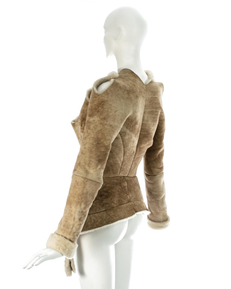 Vivienne Westwood cream shearling sheepskin deconstructed jacket, ca. 1999 For Sale 3
