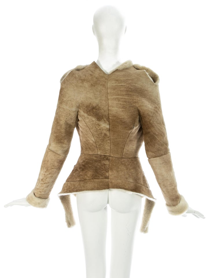 Vivienne Westwood cream shearling sheepskin deconstructed jacket, ca. 1999 For Sale 4