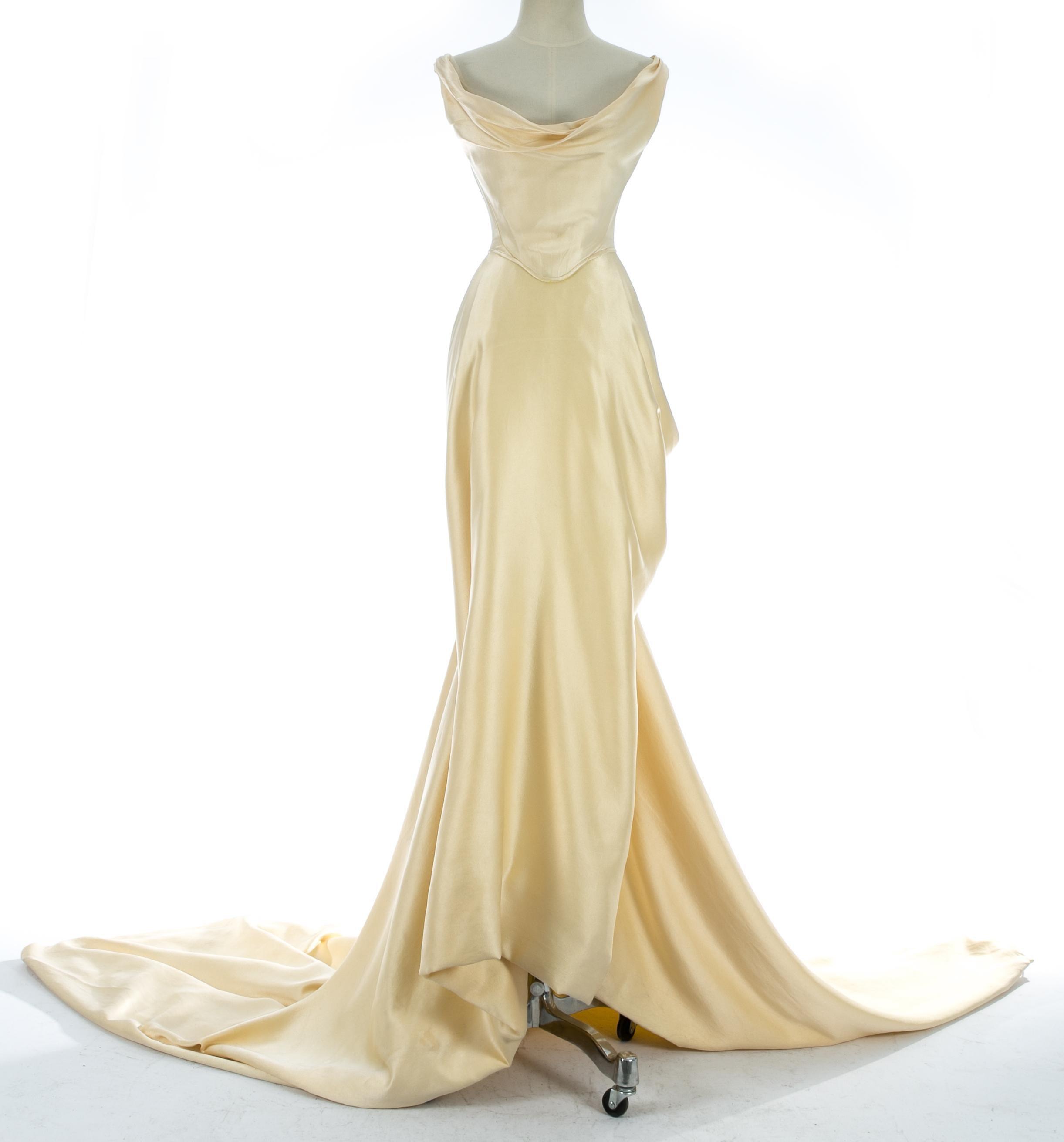 Viviene Westwood Wedding Dresses.Vivienne Westwood Cream Silk Corset And Draped Skirt Wedding Ensemble C 1999