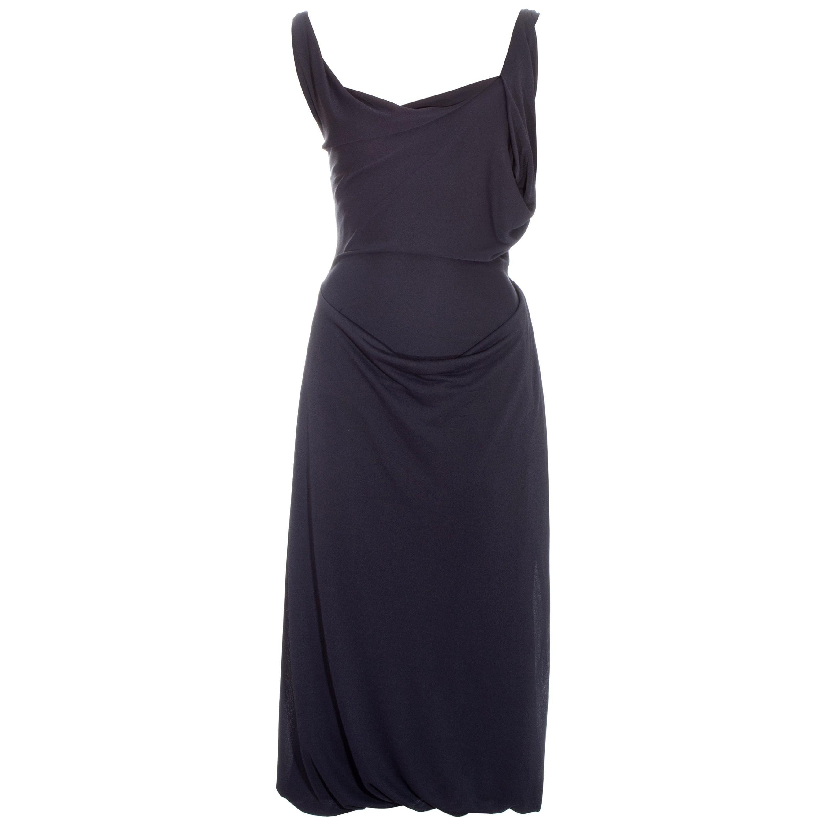Vivienne Westwood deep mauve rayon draped mid-length dress, ss 1997