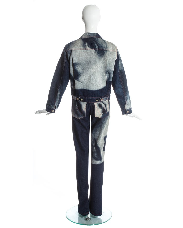 Vivienne Westwood denim Marlene Dietrich 'Always on Camera' pant suit, fw 1992 1