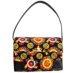 Vivienne Westwood Galaxy print cotton and leather shoulder flap bag, c. 1995