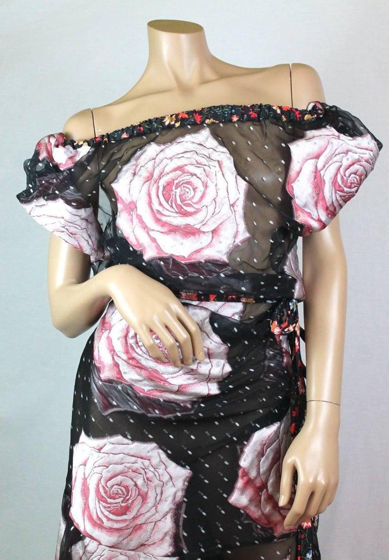 Black Vivienne Westwood Gold Label Glenn Dress with Rose Print, A / W 2015  For Sale