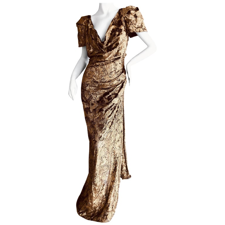 "Vivienne Westwood Gold Label Gold Devore Velvet ""Virginia"" Dress New with Tags For Sale"