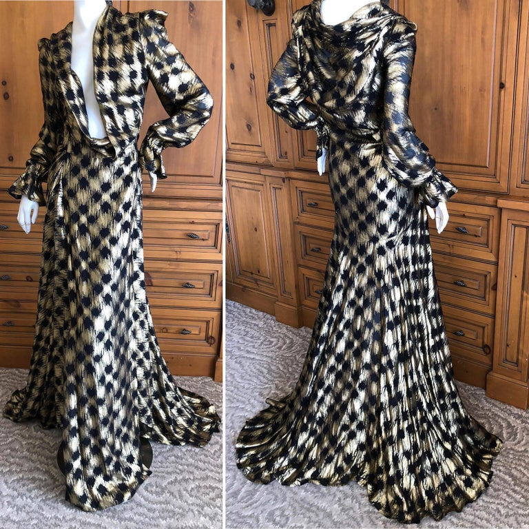 Vivienne Westwood Gold Label Gold Houndstooth Evening Dress New with Tags In New Condition For Sale In San Francisco, CA