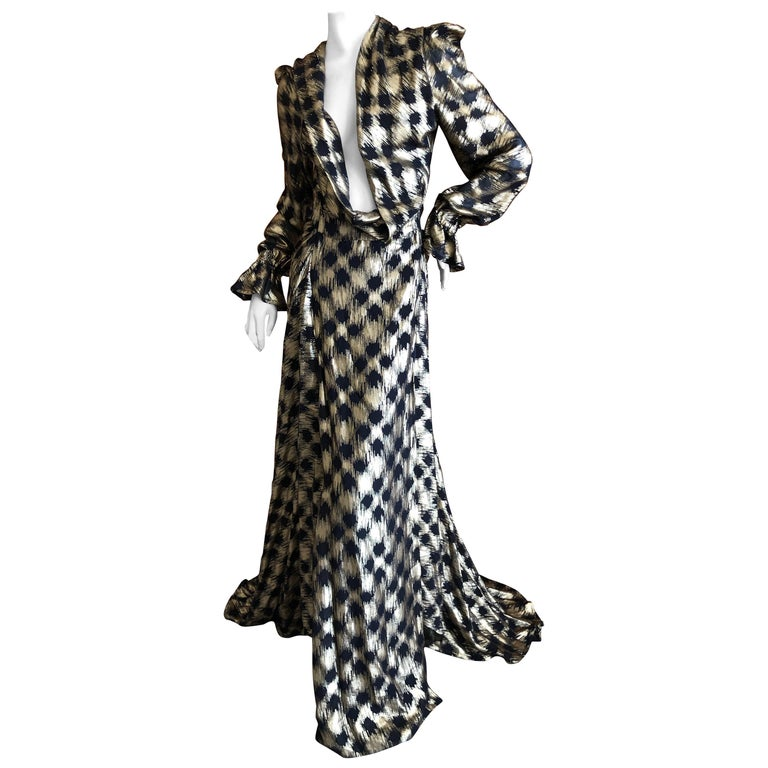 Vivienne Westwood Gold Label Gold Houndstooth Evening Dress New with Tags For Sale