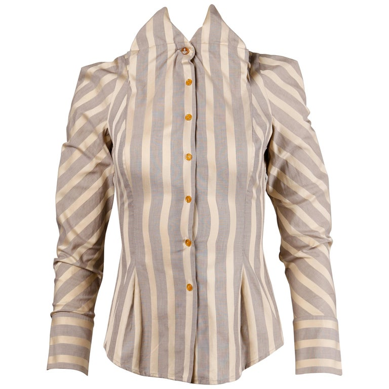 Vivienne Westwood Gold Label Striped Button Up Blouse Top For Sale