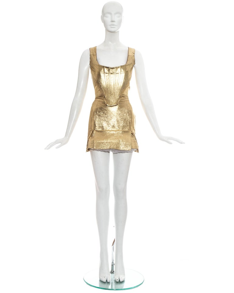 Brown Vivienne Westwood gold leather corset and mini skirt, 'Time Machine' ss 1988