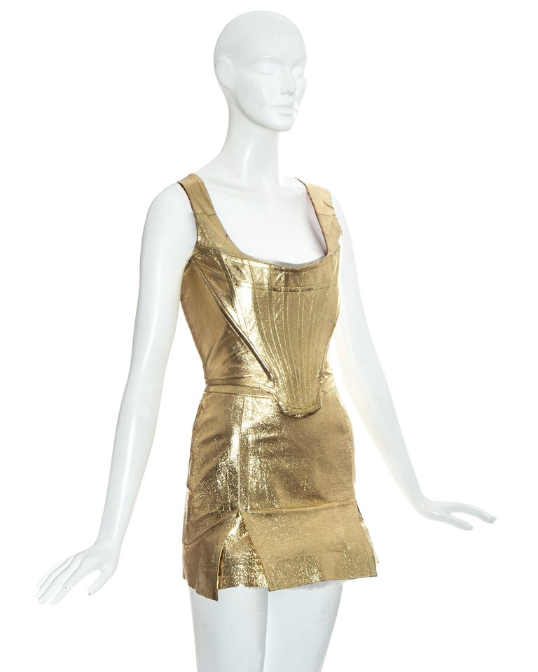 Women's Vivienne Westwood gold leather corset and mini skirt, 'Time Machine' ss 1988