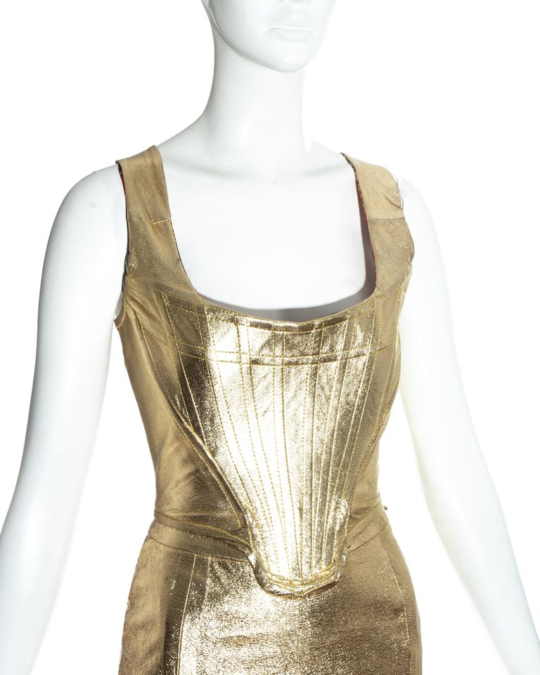 Vivienne Westwood gold leather corset and mini skirt, 'Time Machine' ss 1988 1
