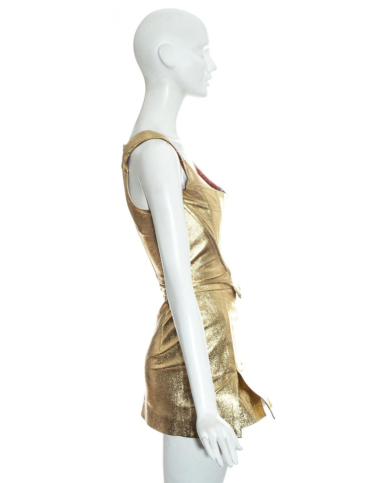 Vivienne Westwood gold leather corset and mini skirt, 'Time Machine' ss 1988 2