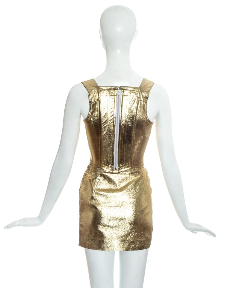 Vivienne Westwood gold leather corset and mini skirt, 'Time Machine' ss 1988 3
