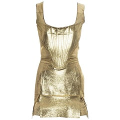 Vivienne Westwood gold leather corset and mini skirt, 'Time Machine' ss 1988