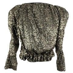 Vivienne Westwood Gold Sequin Long Sleeve Yasmin Top Size 40 IT
