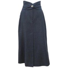Vivienne Westwood Gray Wool High Waist Maxi Skirt