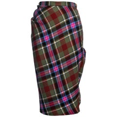 Vivienne Westwood green tartan bias cut bustled pencil skirt, fw 1993