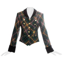 Vivienne Westwood green tartan wool fitted jacket with 15 gold buttons, fw 1988
