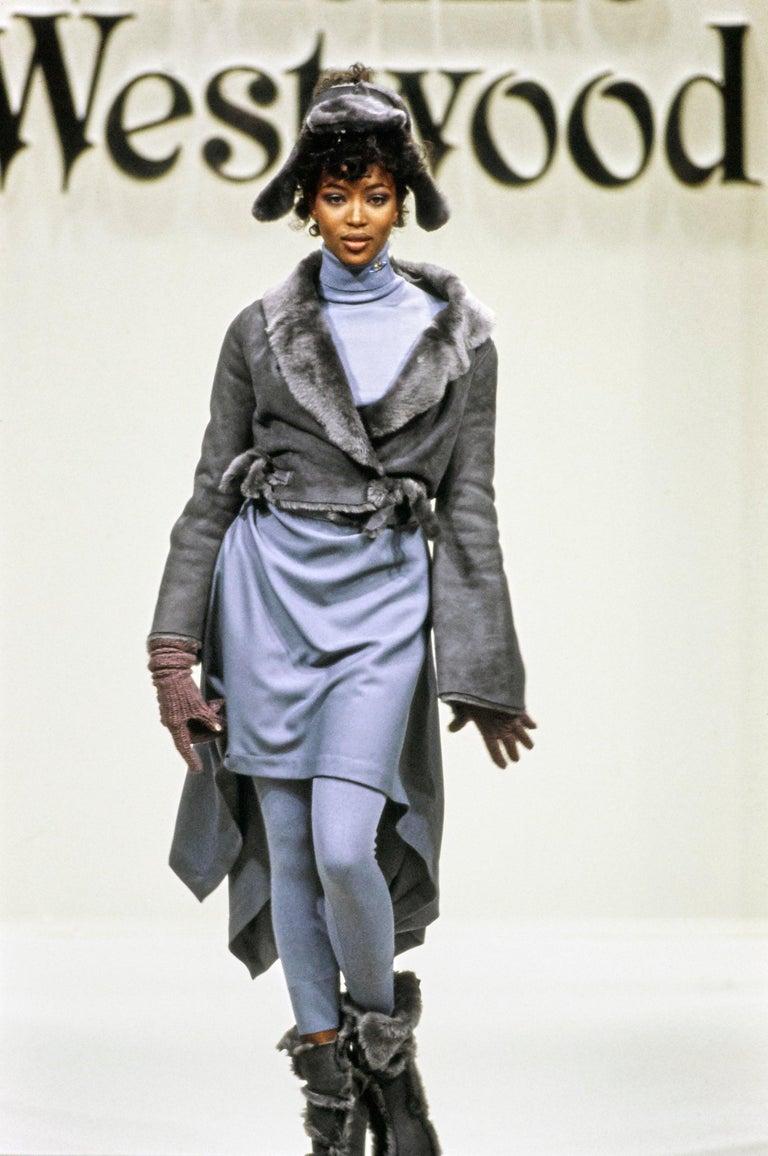 Vivienne Westwood grey sheepskin topless trapper hat   Fall-Winter 1994
