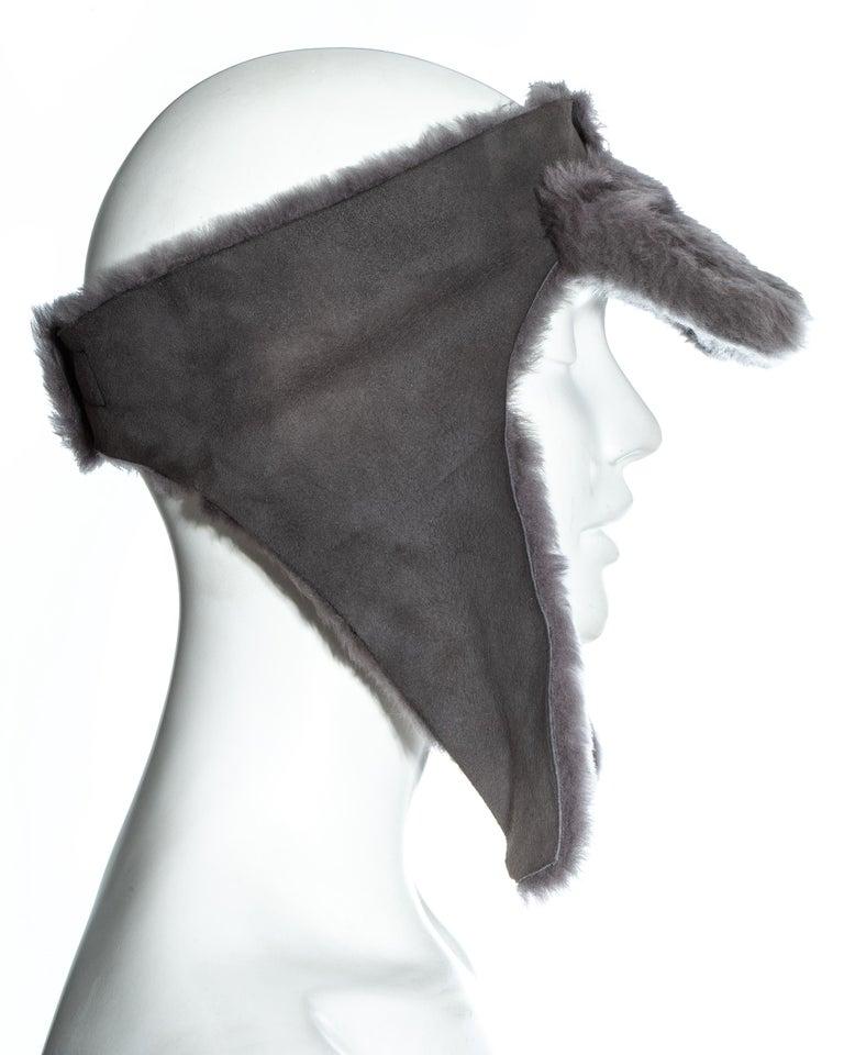 Black Vivienne Westwood grey sheepskin topless trapper hat, fw 1994 For Sale