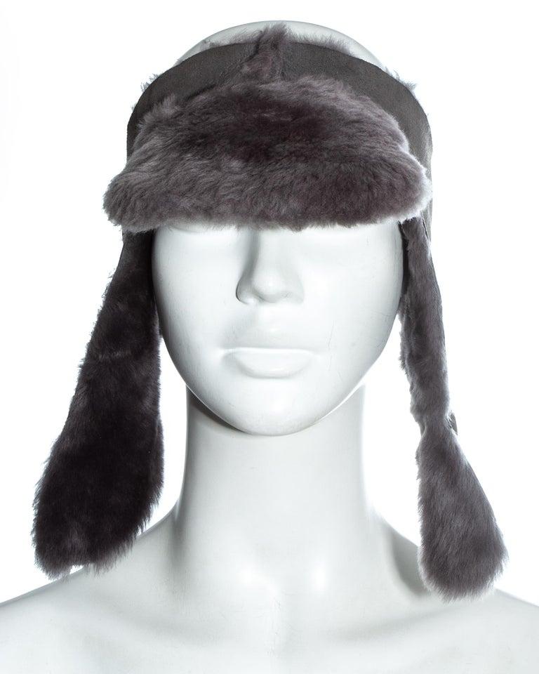 Women's Vivienne Westwood grey sheepskin topless trapper hat, fw 1994 For Sale