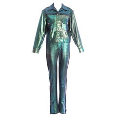 Vivienne Westwood iridescent painted denim pant suit, fw 1992