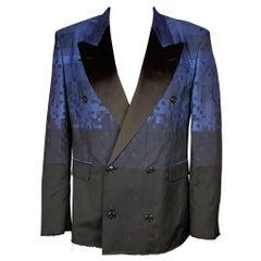 VIVIENNE WESTWOOD MAN Size 42 Blue & Black Square Print Wool Blend Sport Coat