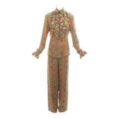 Vivienne Westwood mens tan ruffled pant suit, ss 1997