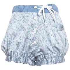 "Vivienne Westwood ""Mini Crini"" blue printed button-down shorts, ss 1985"