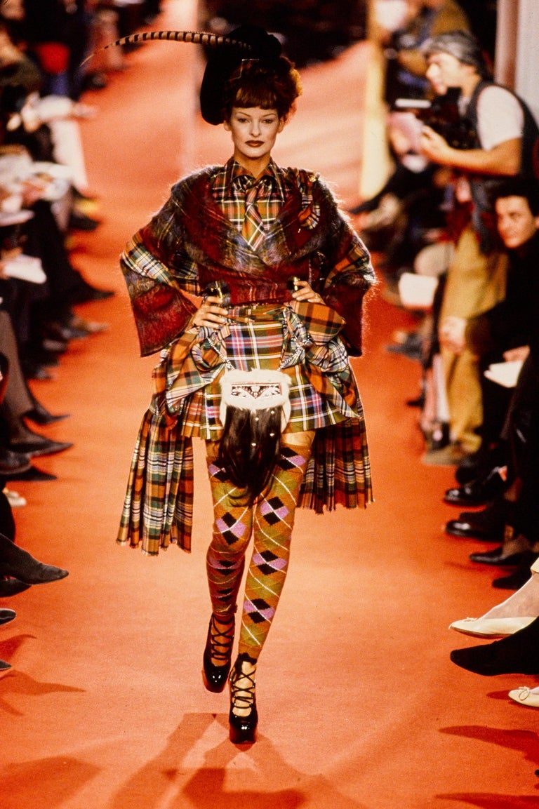 Vivienne Westwood multicoloured tartan wool lace-up platforms, fw 1993 In Good Condition For Sale In London, GB