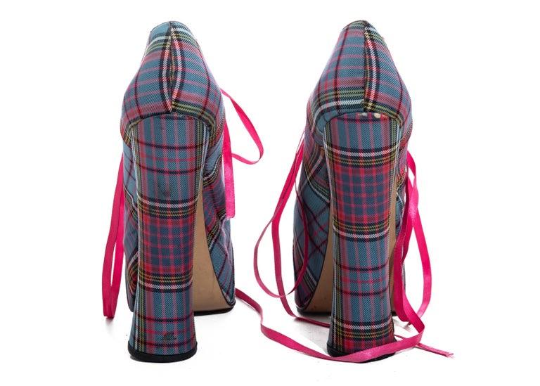 Vivienne Westwood multicoloured tartan wool lace-up platforms, fw 1993 For Sale 1