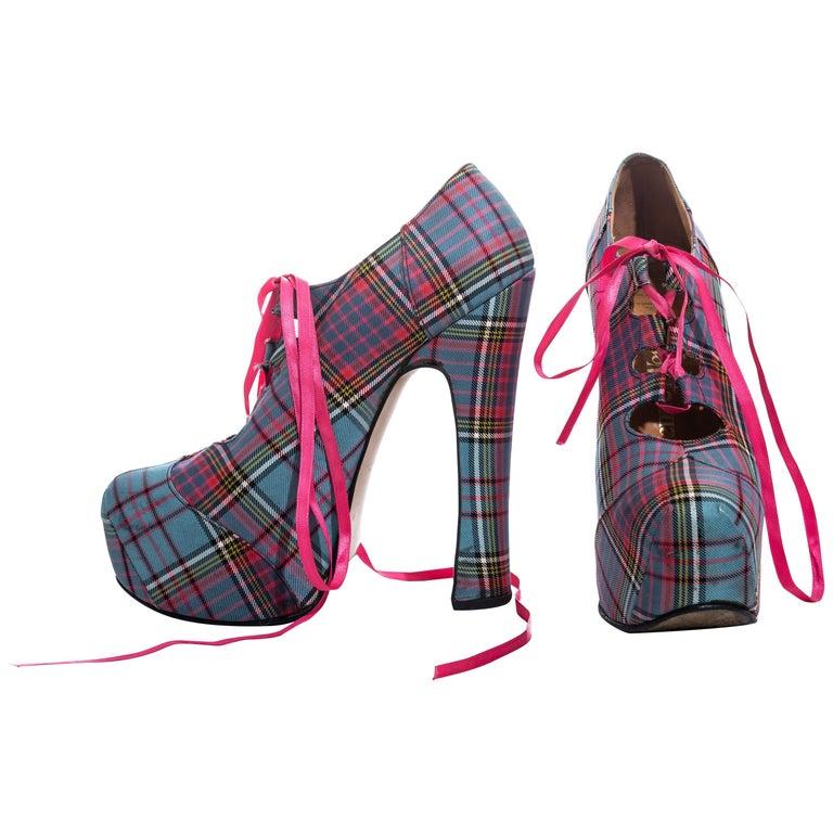 Vivienne Westwood multicoloured tartan wool lace-up platforms, fw 1993 For Sale